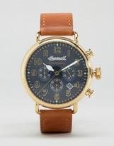 Ingersoll Trenton Quartz Chronograph Leather Watch In Tan