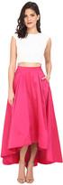 Aidan Mattox Cap Sleeve Sequin Top with Taffeta A Line High-Low Skirt
