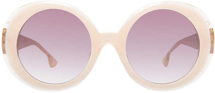 Alice + Olivia Mulholland Glittered Round Sunglasses
