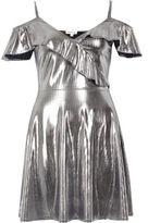 River Island Womens Silver frill skater dress