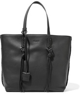 Tod's Gypsy Whipstitched Textured-leather Tote - Black