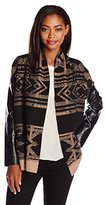 Twelfth Street By Cynthia Vincent Women's Faux Leather Sleeve Log Cabin Cardigan Sweater
