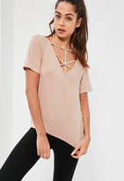 Missguided Nude Cross Front Harness Ring Detail T-Shirt