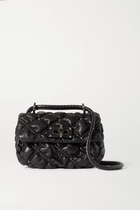 Valentino Garavani Waffle Small Studded Quilted Leather Shoulder Bag - Black