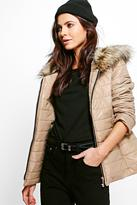 Boohoo Anya Faux Fur Hood Quilted Jacket