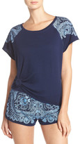 Lucky Brand Print Shoulder French Terry Lounge Top