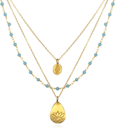 Satya Jewelry Hamsa, Lotus & Gemstone Triple-Chain Necklace