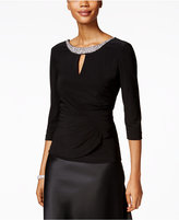 Alex Evenings Petite Embellished Faux-Wrap Top