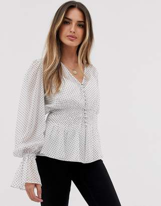 Asos Design DESIGN sheer long sleeve button front top with smock detail-Multi
