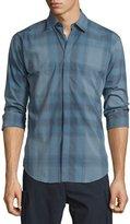 Burberry Faded Check Long-Sleeve Sport Shirt, Blue