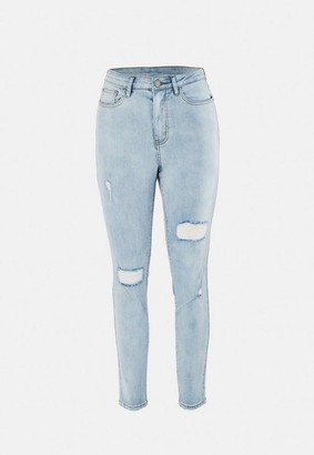 Missguided Petite Blue Distressed Skinny Jeans