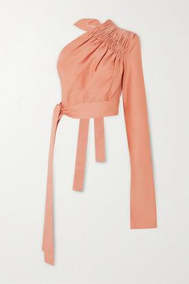 ALEKSANDRE AKHALKATSISHVILI One-shoulder Ruched Cotton Blouse - Blush