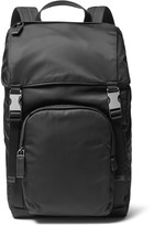 Prada Leather-Trimmed Shell Backpack