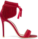 Gianvito Rossi Fringed Satin Sandals - Red
