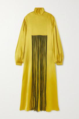 Roksanda Zina Fringed Silk-satin Turtleneck Gown - Bright green