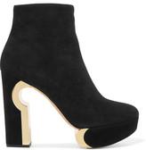 Nicholas Kirkwood Cutout Suede Platform Ankle Boots - Black