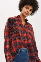 Topshop Washed red checked shirt