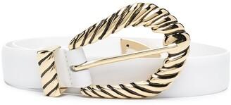 Alberta Ferretti Textured-Buckle Leather Belt