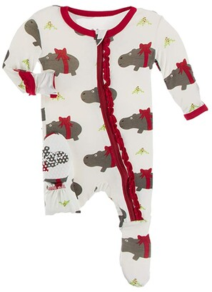Kickee Pants Kids Muffin Ruffle Footie with Zipper (Infant) (Natural Christmas Hippo) Girl's Jumpsuit & Rompers One Piece