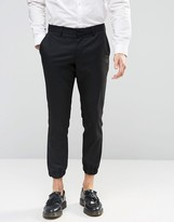 Selected Cropped Skinny Fit Pants with Stretch and Cuffed Hem