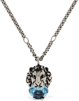 Gucci Lion Head Crystal Long Necklace