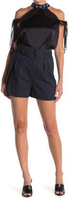 Elie Tahari Genna Paperbag Linen Blend Belted Shorts