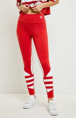 adidas Red Large Logo Leggings