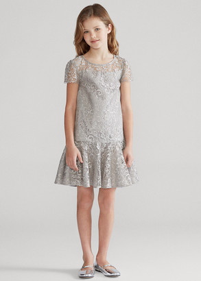Ralph Lauren Metallic Lace Drop-Waist Dress