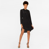 Paul Smith Women's Black Silk Shirt-Dress With Ruffle Front