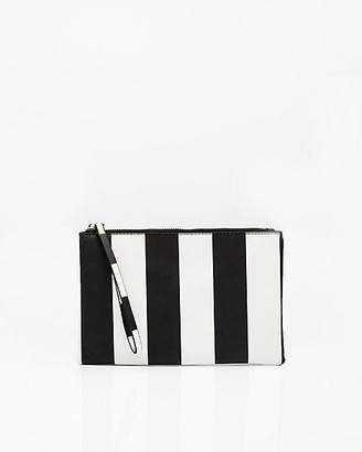 Le Château Stripe Faux Leather Cosmetic Pouch