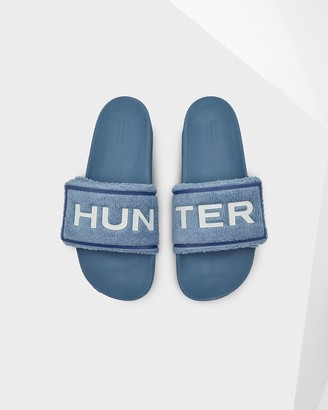 Hunter Men's Original Terry Towelling Logo Adjustable Slides