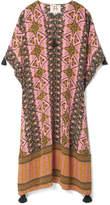 Figue Eliza Tasseled Printed Silk Crepe De Chine Kaftan - Pink