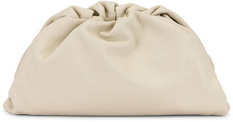 Bottega Veneta Leather Pouch Clutch in Plaster & Gold | FWRD