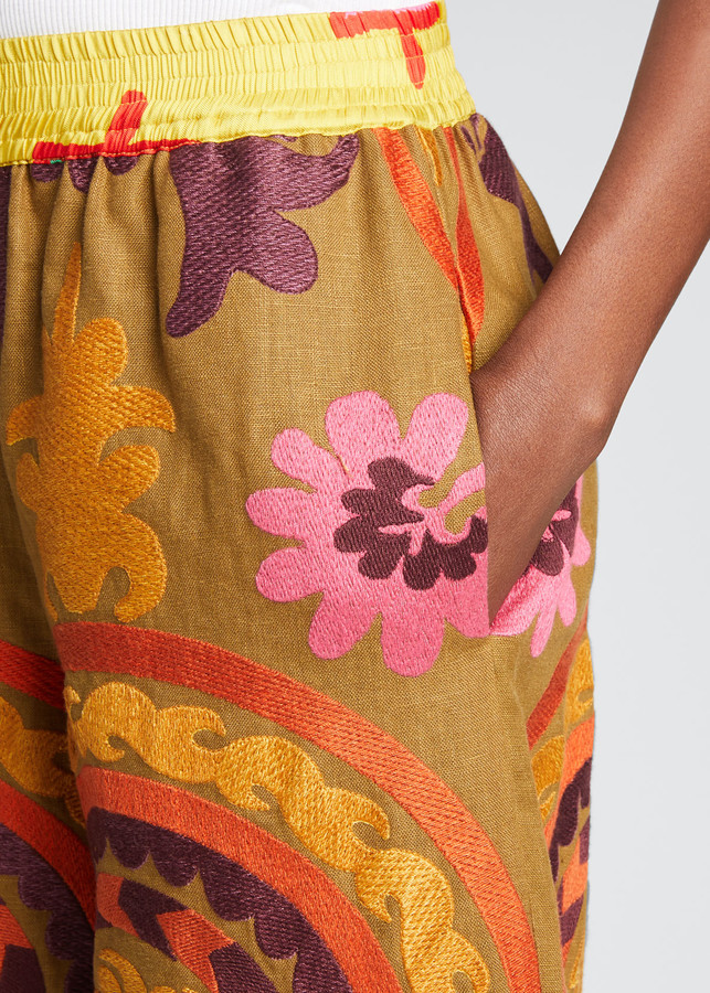 Thumbnail for your product : RIANNA + NINA Melina Embroidered Linen Wide-Leg Pants