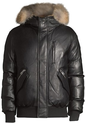 Mackage Gable Leather Rabbit-Fur Trimmed Coat