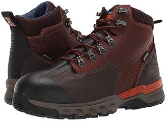 Timberland Downdraft 6 Alloy Safety Toe Waterproof (Black Leather) Men's Work Boots