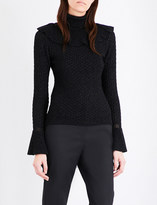 Co Bell-sleeve metallic-knit jumper