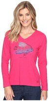 Life is Good Tropical Fish Engraved Long Sleeve Crusher Vee Women's T Shirt