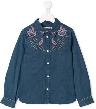 Bonpoint Paisley Embroidered Denim Shirt
