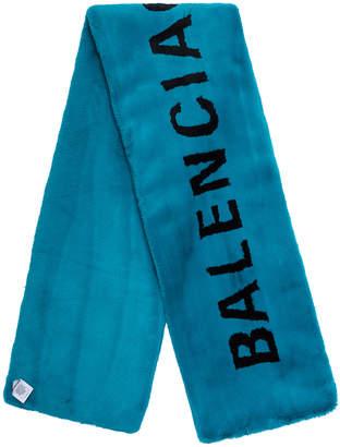 Balenciaga Classic Faux Fur Scarf in Petroleum Blue & Black | FWRD