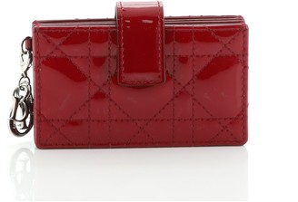 Christian Dior Lady Card Case Stitched Cannage Patent