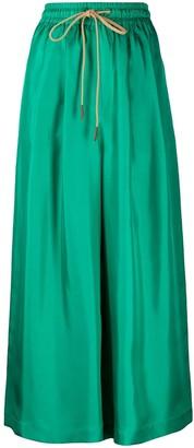 Alysi Cropped Wide-Leg Silk Trousers