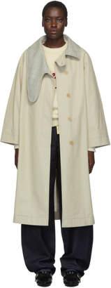 Loewe Beige and Grey Long Asymmetric Collar Coat