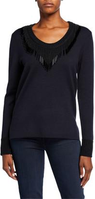 Kobi Halperin Delia Beaded-Trim V-Neck Sweater