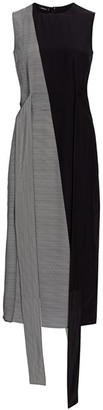 Akris Stripe Asymmetric Patchwork Stripe Silk Sheath Dress