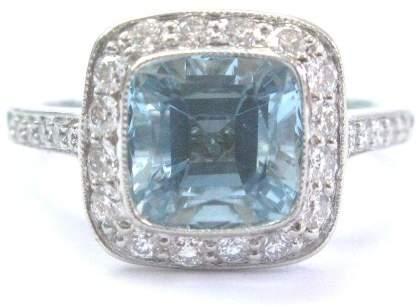 Tiffany & Co. Platinum Legacy Aquamarine 2.54CT Diamond Ring