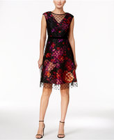 Sandra Darren Petite Velvet Flocked Fit & Flare Dress
