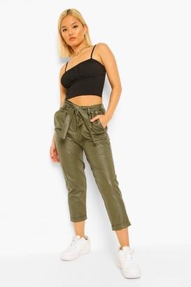boohoo Petite Pu Faux Leather Belted Tapered Pants