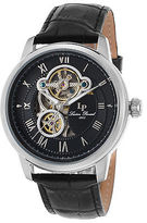 Lucien Piccard 12524-01 Men's Optima Auto Black Genuine Leather and Dial SS