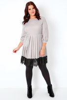Yours Clothing PRASLIN Light Grey Dress With Pleated Skirt & Black Lace Hem